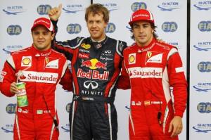 Kanada GP 2011 Felipe Massa, Sebastian Vettel und Fernando Alonso (Andrew Ferraro/LAT Photographic)