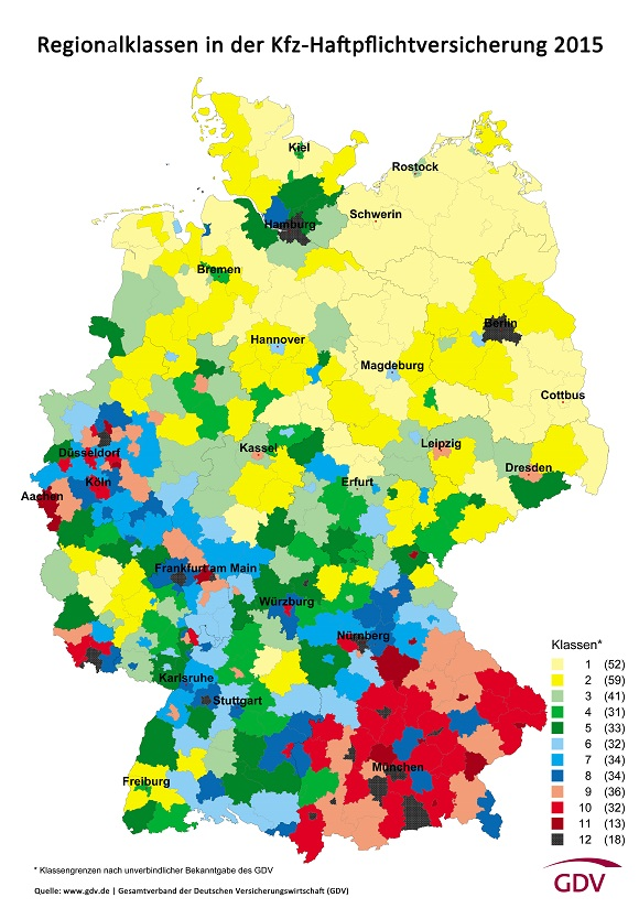 Regionalklassen 2015 Kfz-Haftpflichtversicherung Welche Regionen in welcher Regionalklasse sind © GDV