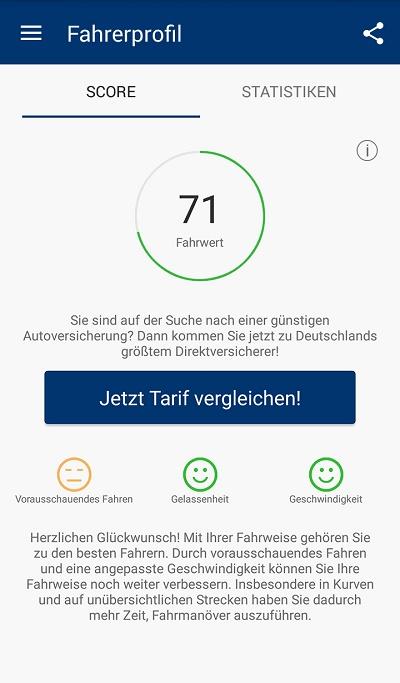 Neue Kfz-Versicherung von CosmosDirekt Der Telematiktarif BetterDrive Score-Beispiel © CosmosDirekt
