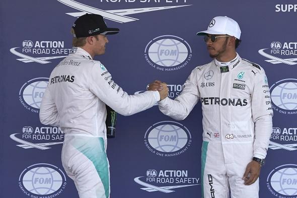Formel 1 2016 Nico Rosberg und Lewis Hamilton von Mercedes AMG Petronas beim Mexican GP © Daimler AG